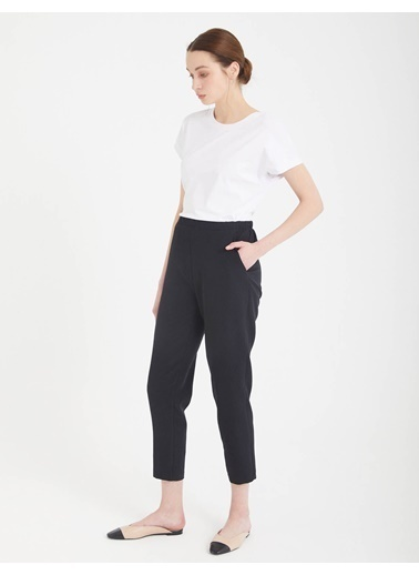 BGN Siyah - Beli Lastikli Dar Kesim Pantolon Siyah